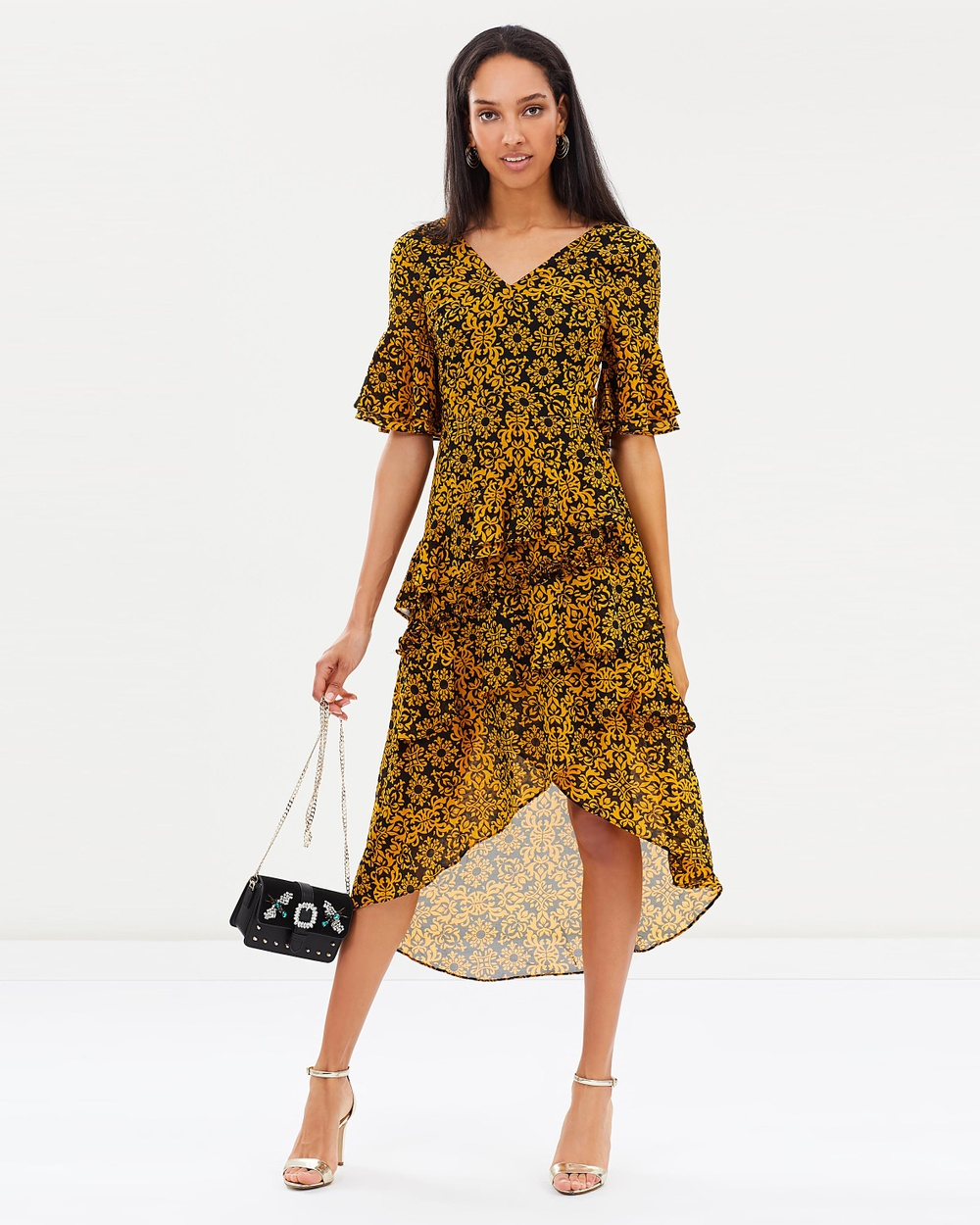 Atmos & Here ICONIC EXCLUSIVE Sana Ruffle Dress Dresses Mustard Wallpaper ICONIC EXCLUSIVE Sana Ruffle Dress