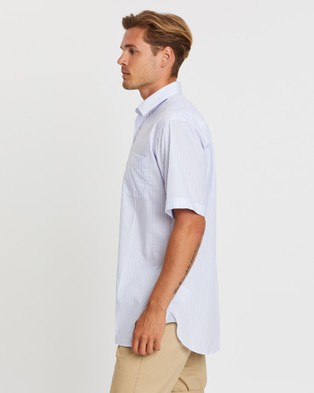Gieves and Hawkes Short Sleeved Striped Shirt - Shirts & Polos (Blue)