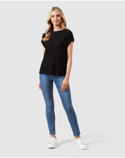 French Connection Pleated T Shirt Black