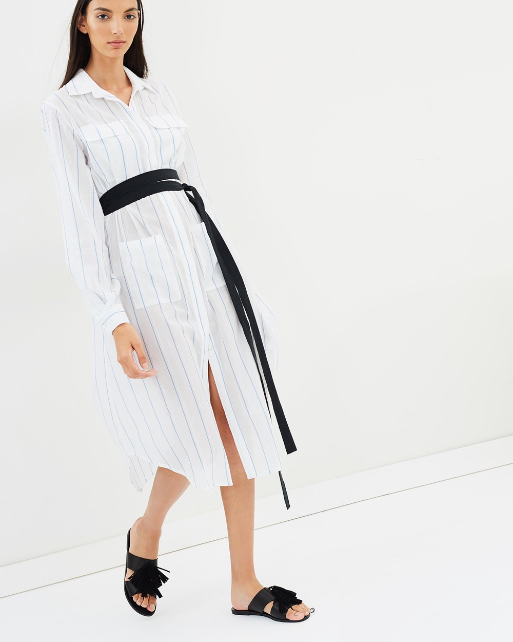 Matin Long Shirt Dress with Tie Dresses White Long Shirt Dress with Tie