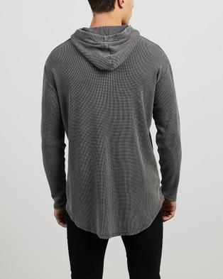 Silent Theory - Hooded Waffle Long Sleeve Tee - Long Sleeve T-Shirts (CHARCOAL) Hooded Waffle Long Sleeve Tee
