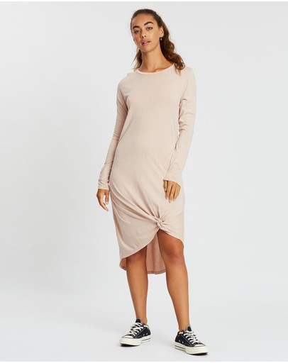 Silent Theory Long Sleeve Twisted Tee Dress Pink