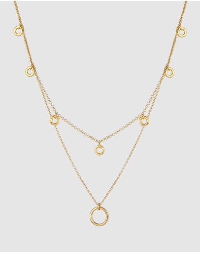 Elli Jewelry Necklace Basic Layering-kette Geo Design In 925 Sterling Silber Gold Plated