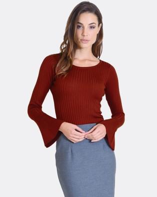 Forcast – Carla Fluted Sleeve Knit Rust