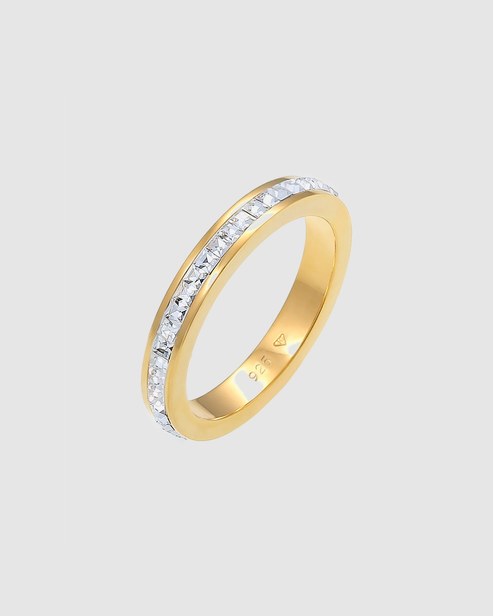 Elli Jewelry Ring Sparkling Elegant Crystals 925 Sterling Silver Gold Plated Jewellery Gold