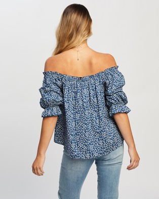 Atmos&Here Madison Cotton Blouse - Tops (Blue Ditsy Floral)
