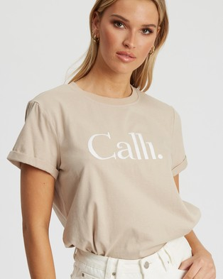 Calli Embroidered T Shirt - T-Shirts & Singlets (Taupe & White Logo)