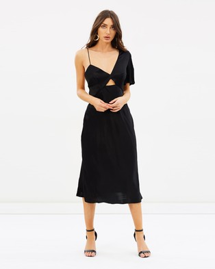 Talulah – Blossoming Asymmetrical Midi Dress Black