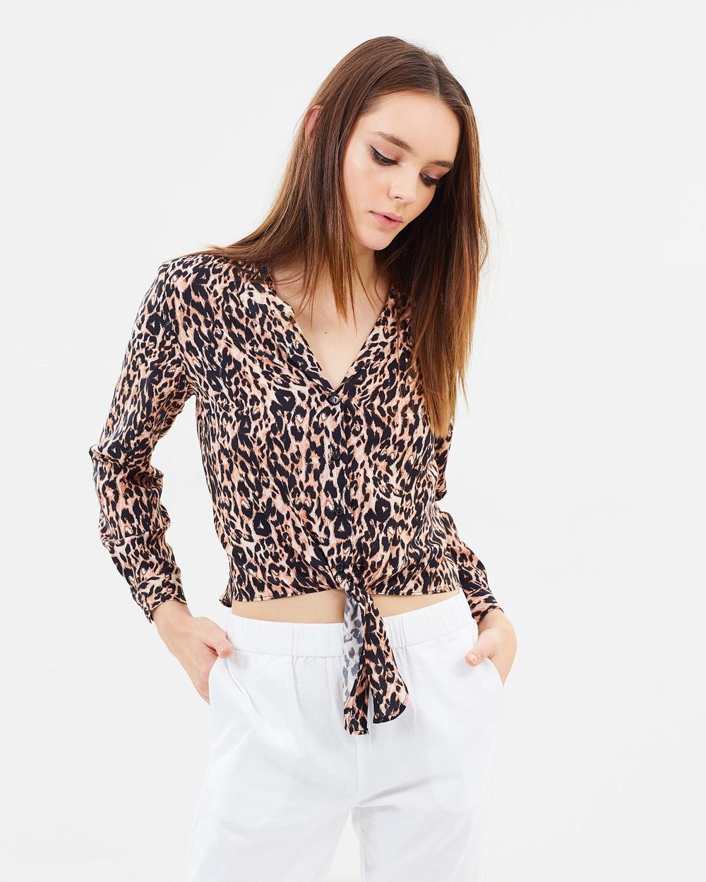 Miss Selfridge Animal Print Tie Front Shirt Tops Brown Animal Print Tie Front Shirt