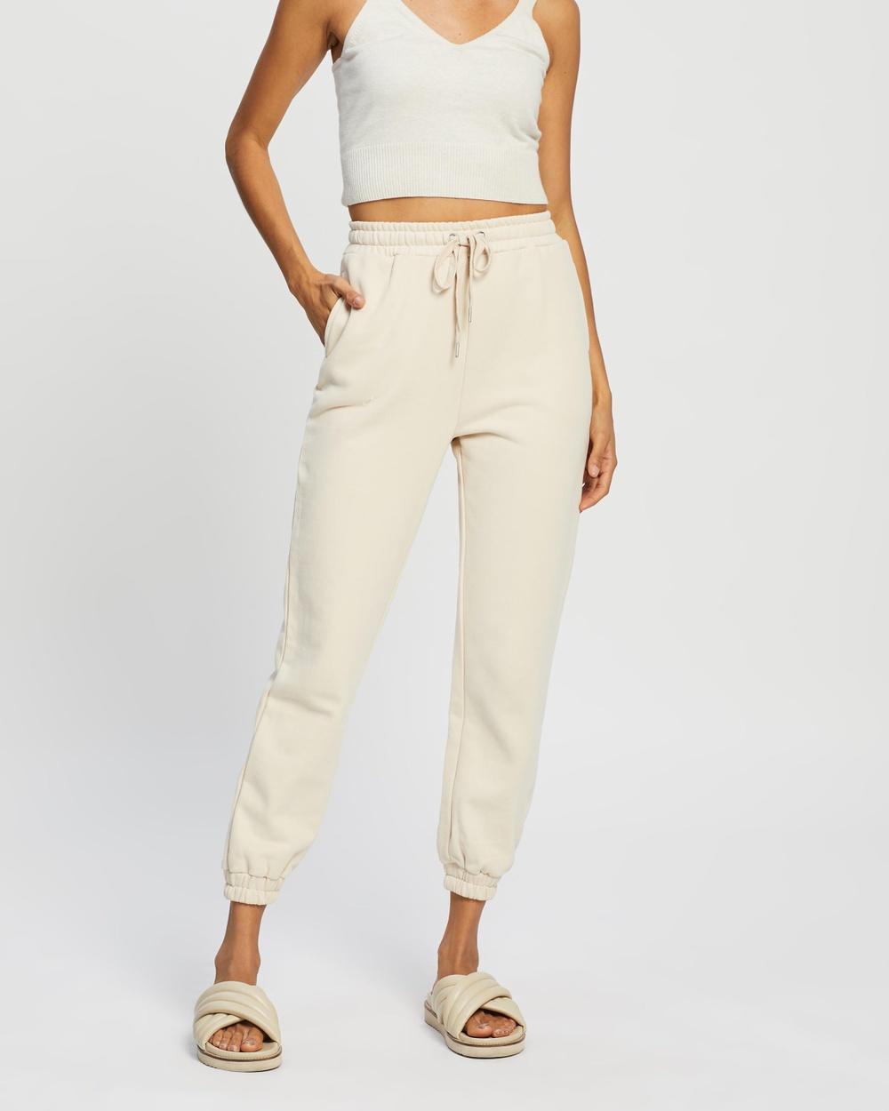 AERE Organic Cotton Slim Sweatpants Frosted Almond
