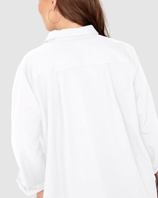 Love Your Wardrobe Manhattan Cotton Over Shirt - Tops (White)