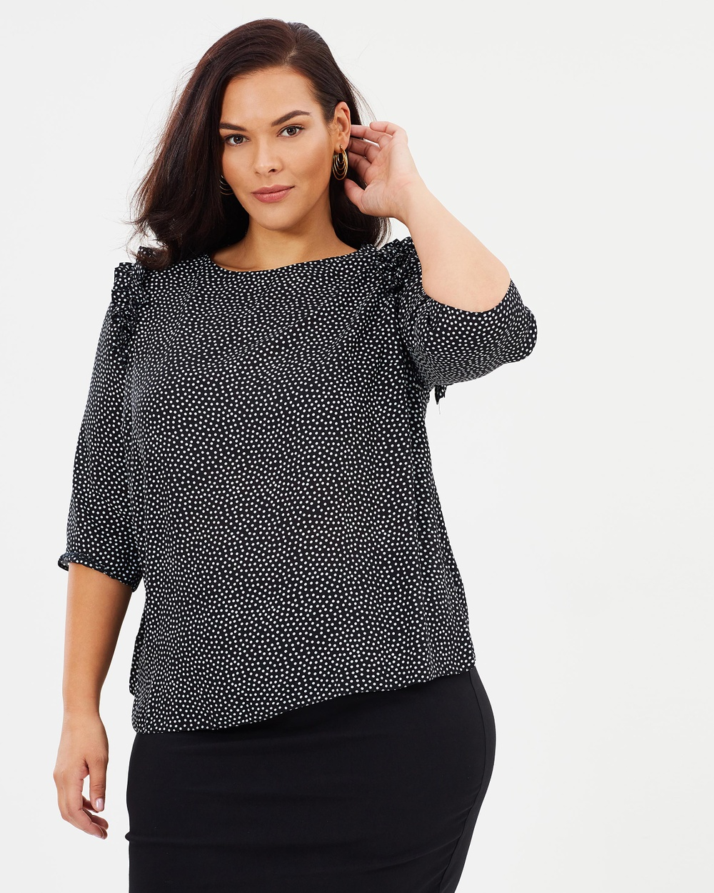 DP Curve Ruffle Shoulder Top Tops Black Spot Ruffle Shoulder Top