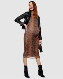 TOPSHOP Maternity - Snake Print Funnel Neck Midi Body-Con Dress