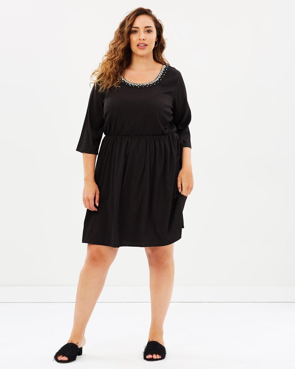 JUNAROSE Lavas 3 4 Sleeve Dress Dresses Black Beauty Lavas 3-4 Sleeve Dress