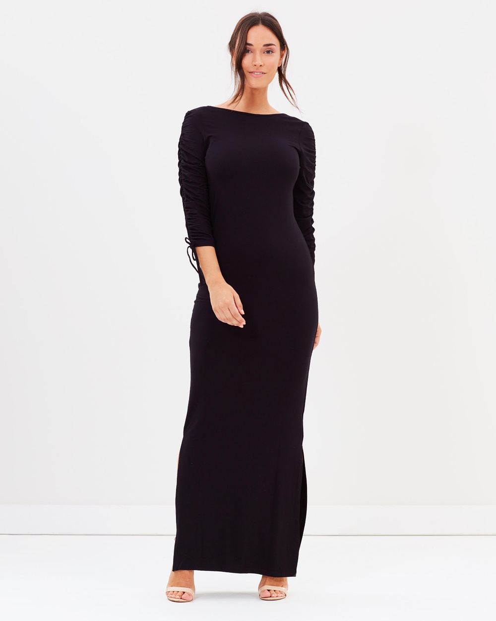 Dorothy Perkins Ruched Maxi Dress Dresses Black Ruched Maxi Dress