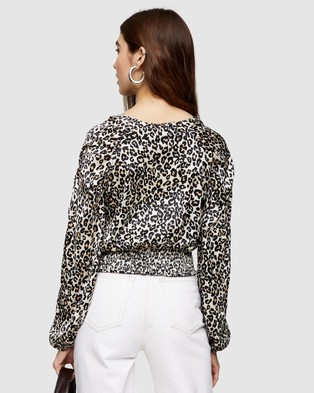 TOPSHOP Animal Print Shirred Tie Front Blouse - Tops (Nude)