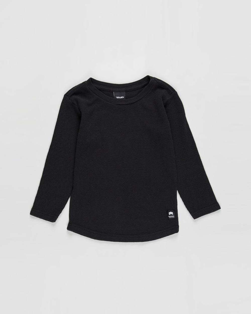 St Goliath - Long Sleeve Waffle Tee   Kids - T-Shirts & Singlets (Black) Long Sleeve Waffle Tee - Kids