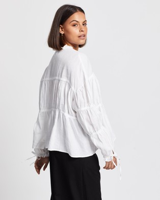 AERE Layered Linen Smock Top - Tops (White)