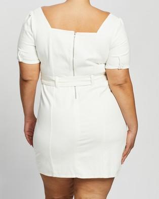 Missguided Curve Self Belted Puff Sleeve Denim Mini Dress - Dresses (White)