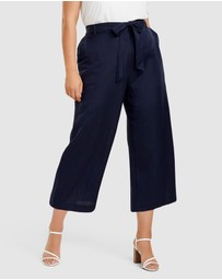 Forever New Curve - Becky Curve Linen Tie Front Culottes