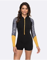 Womens 2mm Pop Surf Long Sleeve Front Zip Springsuit Wetsuit
