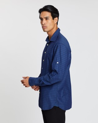 3 Wise Men The Little Corn Casual Tailored Shirt - Shirts & Polos (Blue Check)