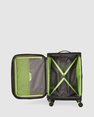 American Tourister Applite 4Security Spinner 71 27  EXP TSA Suitcase - Travel and Luggage (Black & Green)
