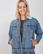 80s Faux Sherpa Denim Jacket