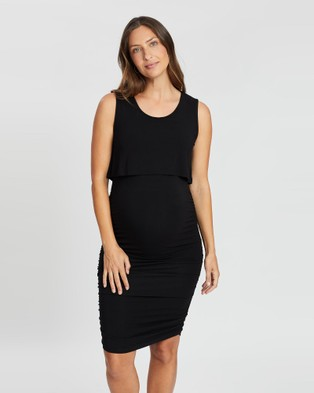 Angel Maternity Bodycon Sleeveless Nursing Dress - Bodycon Dresses (Black)