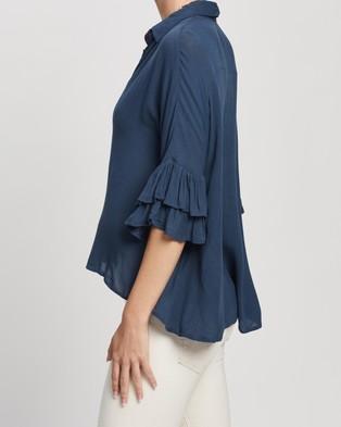 TOPSHOP Ruffle Sleeve Shirt - Tops (Navy Blue)