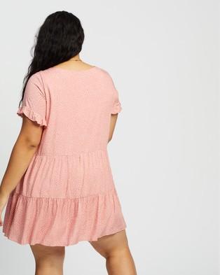 Atmos&Here Curvy Barbara Mini Dress - Printed Dresses (Pink Base & White Spot)