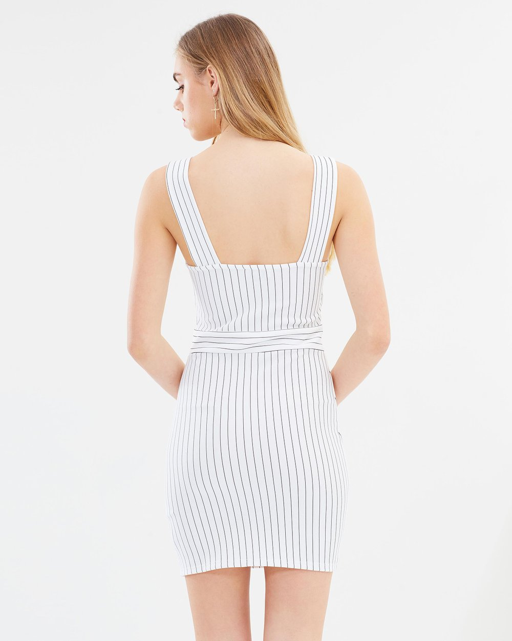 Stripe Button Pinny Dress By Miss Selfridge Online The Iconic Overall Australia