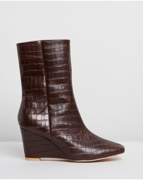 Atmos&Here - Lila Leather Wedge Boots