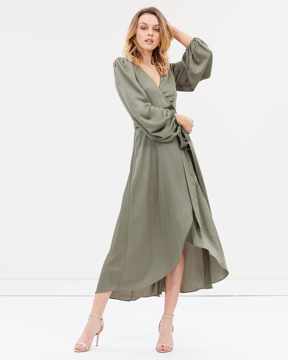 Shona Joy Wrap Midi Dress Dresses Moss Wrap Midi Dress