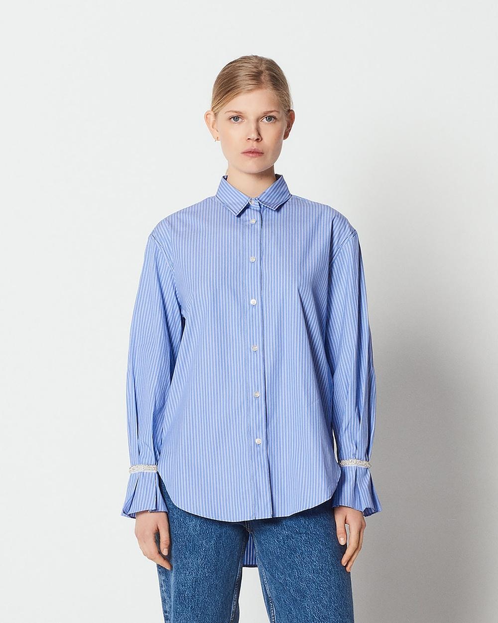 Sandro Sociologie Shirt Tops Blue Sociologie Shirt