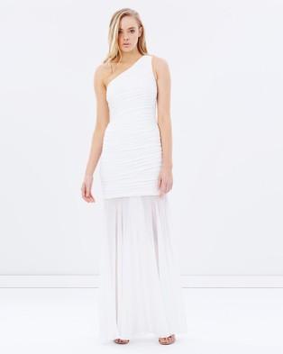 SKIVA – One Shoulder Dress with Chiffon Overlay – Dresses (White)