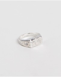 Heart of Bone - Small Hammered Rectangle Signet Ring