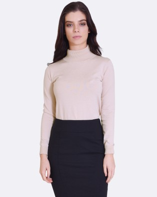 Forcast – Casey Turtle Neck Knitted Sweater – Tops (Beige)