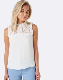 Forever New - Denise Lace Front Yoke Essential Top