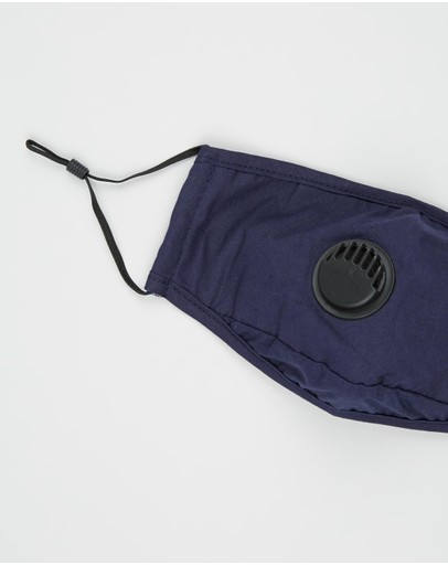H-wood Reusable Cotton Face Mask With Valve Navy