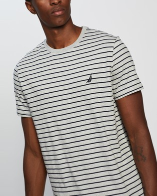 NAUTICA SS Stripe Tee - Clothing (Grey Heather)