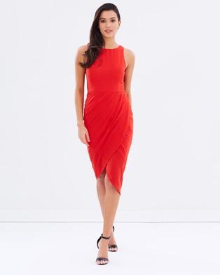 Honey and Beau – Daydreamer Drape Dress Red