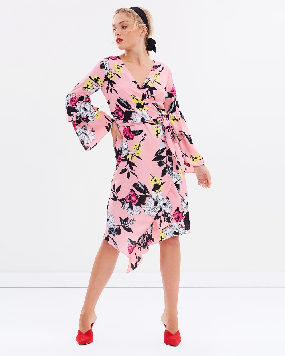 Miss Selfridge Floral Wrap Tier Sleeve Dress Printed Dresses Pink Floral Floral Wrap Tier Sleeve Dress