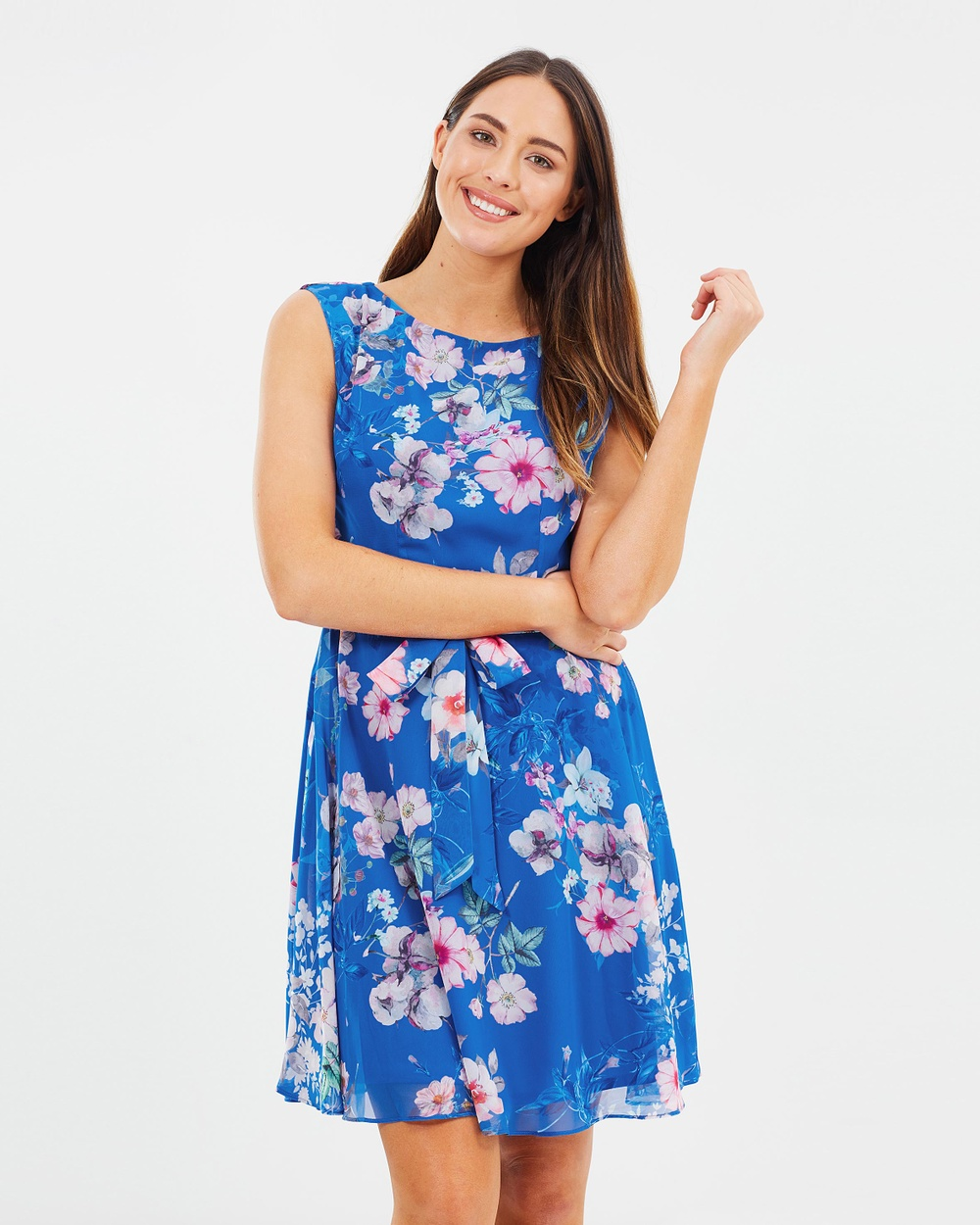 Wallis Pretty Neon Fit & Flare Dress Printed Dresses Blue Pretty Neon Fit & Flare Dress