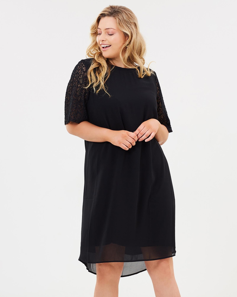 Advocado Plus Boxy Lace Sleeve Dress Dresses Black Boxy Lace Sleeve Dress