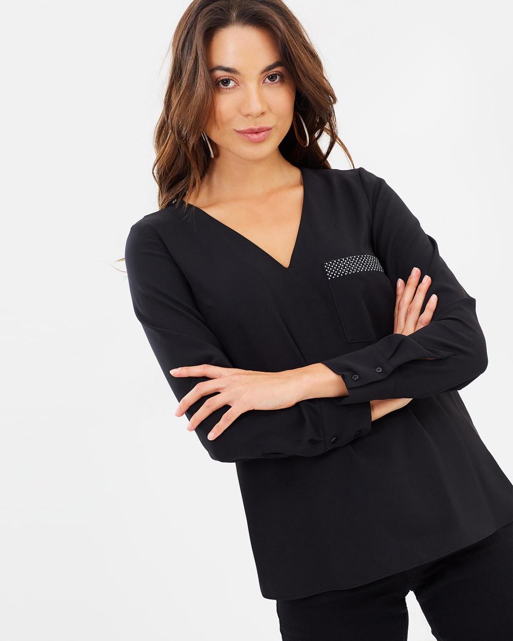 Dorothy Perkins Embellished Pocket Long Sleeve Top Tops Black Embellished Pocket Long Sleeve Top
