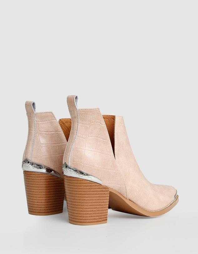 Women Austin Croc Embossed Ankle Boot