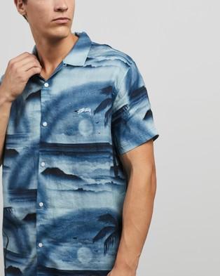 Stussy Island Linen Shirt - Casual shirts (Dusty Blue)
