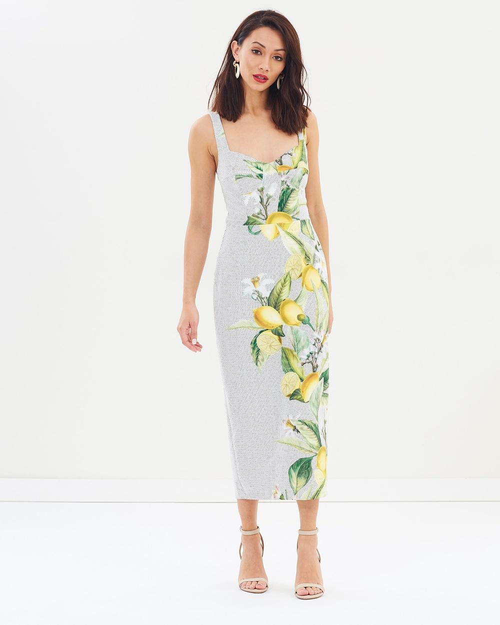 Pasduchas Citrus Brassiere Midi Dress Printed Dresses Ivory Citrus Brassiere Midi Dress