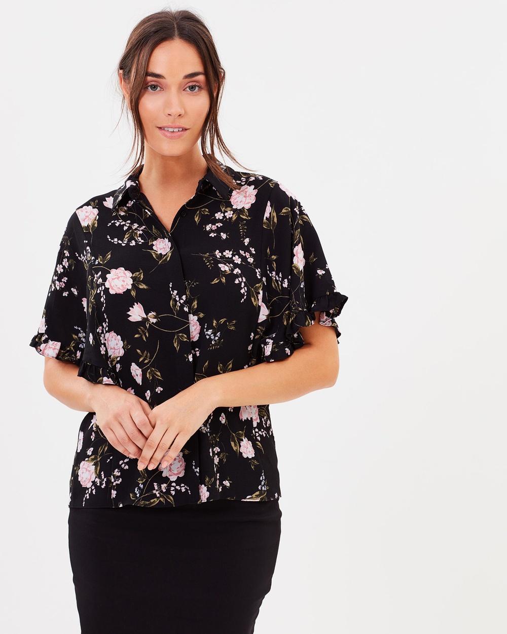 Dorothy Perkins Floral Print Ruffle Shirt Tops Black Floral Print Ruffle Shirt